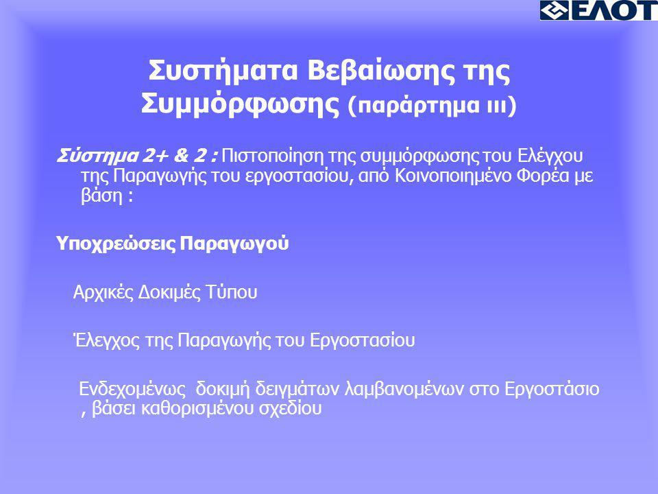 Συστήματα Βεβαίωσης της Συμμόρφωσης (παράρτημα ιιι) Σύστημα 2+ & 2 : Πιστοποίηση της συμμόρφωσης του Ελέγχου της Παραγωγής του εργοστασίου, από Κοινοποιημένο Φορέα με βάση : Υποχρεώσεις Παραγωγού Αρχικές Δοκιμές Τύπου Έλεγχος της Παραγωγής του Εργοστασίου Ενδεχομένως δοκιμή δειγμάτων λαμβανομένων στο Εργοστάσιο, βάσει καθορισμένου σχεδίου