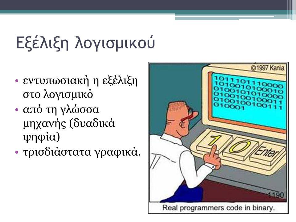 Εξέλιξη λογισμικού •εντυπωσιακή η εξέλιξη στο λογισμικό •από τη γλώσσα μηχανής (δυαδικά ψηφία) •τρισδιάστατα γραφικά.