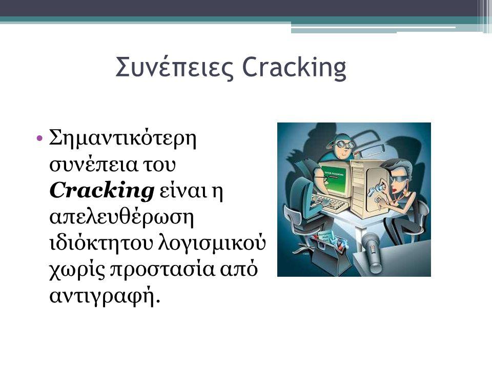 Συνέπειες Cracking •Σημαντικότερη συνέπεια του Cracking είναι η απελευθέρωση ιδιόκτητου λογισμικού χωρίς προστασία από αντιγραφή.