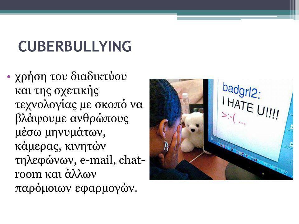 CUBERBULLYING •χρήση του διαδικτύου και της σχετικής τεχνολογίας με σκοπό να βλάψουμε ανθρώπους μέσω μηνυμάτων, κάμερας, κινητών τηλεφώνων, e-mail, ch