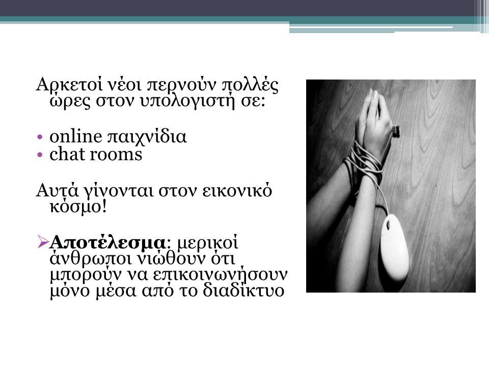 Αρκετοί νέοι περνούν πολλές ώρες στον υπολογιστή σε: •online παιχνίδια •chat rooms Αυτά γίνονται στον εικονικό κόσμο!  Αποτέλεσμα: μερικοί άνθρωποι ν