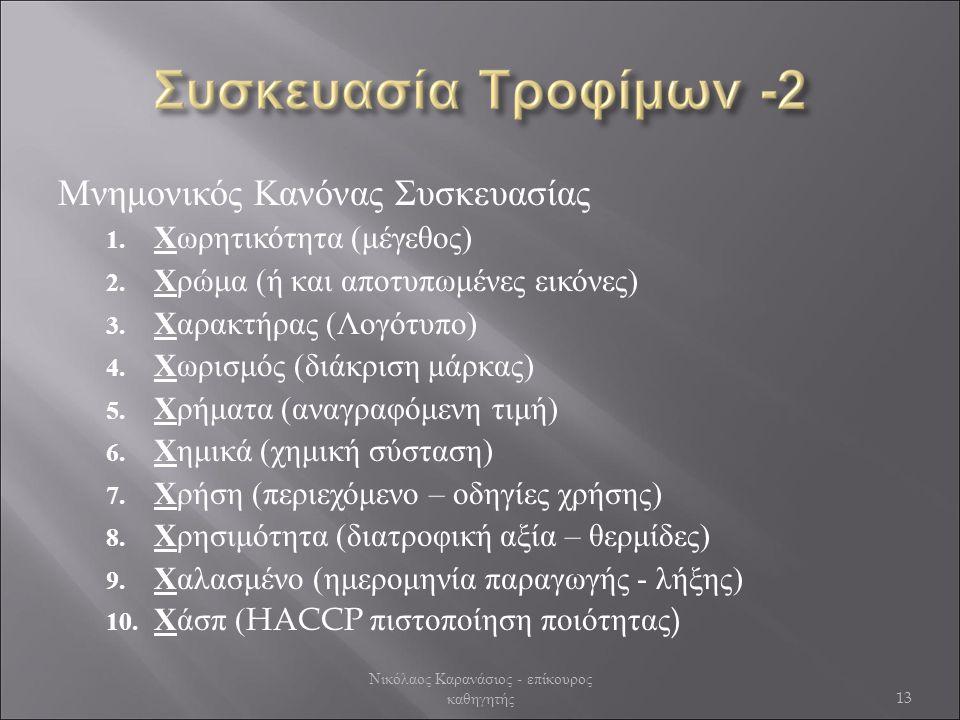 Μνημονικός Κανόνας Συσκευασίας 1.Χωρητικότητα (μέγεθος) 2.