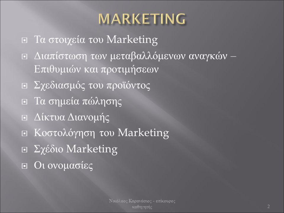  Τα στοιχεία του Marketing  Διαπίστωση των μεταβαλλόμενων αναγκών – Επιθυμιών και προτιμήσεων  Σχεδιασμός του προϊόντος  Τα σημεία πώλησης  Δίκτυα Διανομής  Κοστολόγηση του Marketing  Σχέδιο Marketing  Οι ονομασίες 2 Νικόλαος Καρανάσιος - επίκουρος καθηγητής