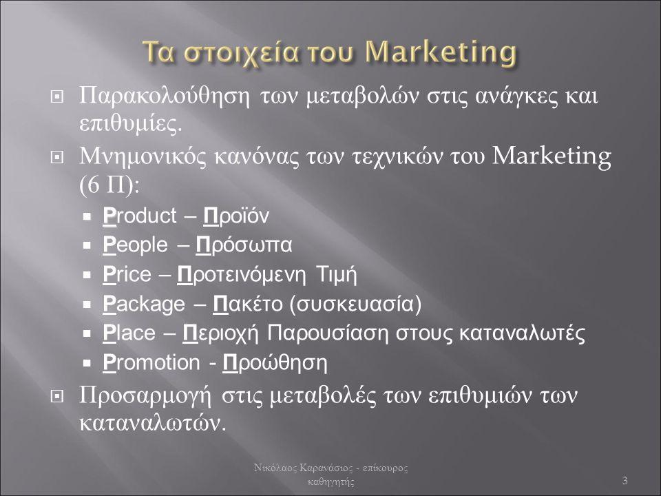  Έρευνα της Αγοράς  Αρχική διαπίστωση της καταναλωτικής συμπεριφοράς με:  Επισκόπηση της αγοράς  Με ποια κριτήρια επιλέγουν αυτό που αγοράζουν οι καταναλωτές;  Ποιος αγοράζει;  Ποιος αποφασίζει;  Ποιος πληρώνει;  Ποιος επηρεάζει;  Που διατίθενται παρόμοια προϊόντα / υπηρεσίες;  Καταγραφή της συμπεριφοράς ( The truth is in the garbage ).