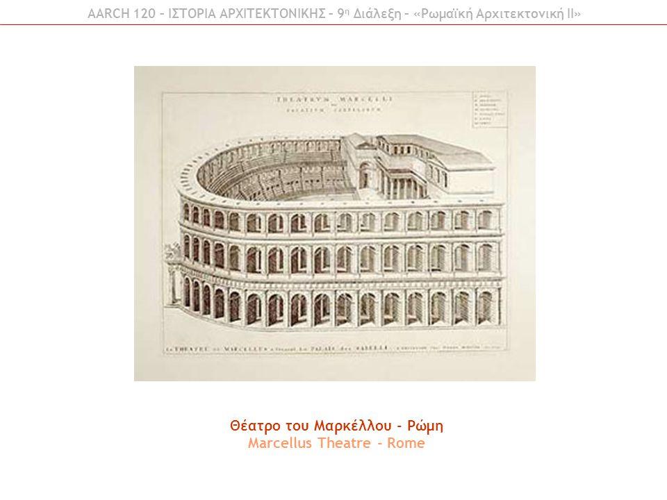 Θέατρo του Μαρκέλλου - Ρώμη Marcellus Theatre - Rome AARCH 120 – ΙΣΤΟΡΙΑ ΑΡΧΙΤΕΚΤΟΝΙΚΗΣ – 9 η Διάλεξη – «Ρωμαϊκή Αρχιτεκτονική ΙI»