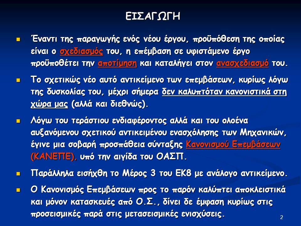 3 ΙΣΤΟΡΙΚΟ ΣΥΝΤΑΞΗΣ ΚΑΝΕΠΕ (Greek Code for Structural Interventions) 2000:Συγκρότηση Ομάδας Μελέτης με στόχο τη σύνταξη Κανονισμού Επεμβάσεων, 17μελής ομάδα, στο πλαίσιο του ΟΑΣΠ 2011:Υποβολή ΚΑΝΕΠΕ προς έγκριση 2011:Συγκρότηση Ομάδας Μελέτης για την Υποστήριξη του ΚΑΝΕΠΕ 2012:Υπουργική Απόφαση θέσπισης Κανονισμού (ΦΕΚ 42/Β/20.01.2012) 2012:Υποβολή πρώτης αναμόρφωσης (20.09.2012), δεν έχει ακόμη εγκριθεί