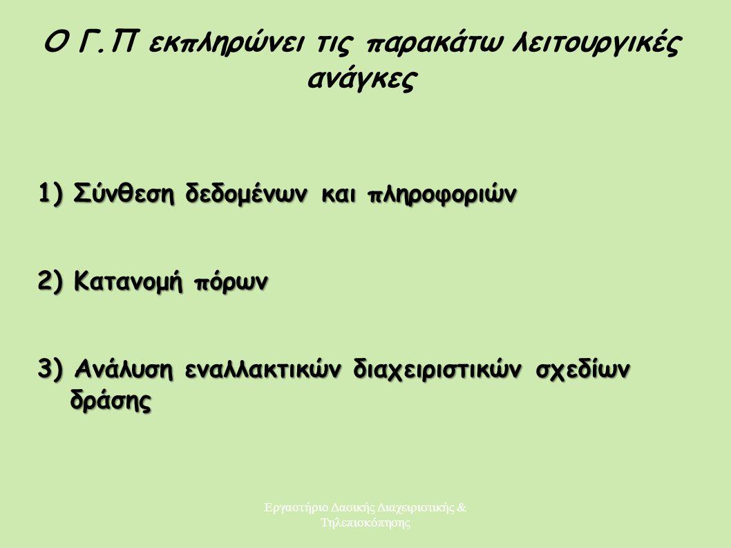 Εργαστήριο Δασικής Διαχειριστικής & Τηλεπισκόπησης Ο Γ.Π εκπληρώνει τις παρακάτω λειτουργικές ανάγκες 1) Σύνθεση δεδομένων και πληροφοριών 2) Κατανομή
