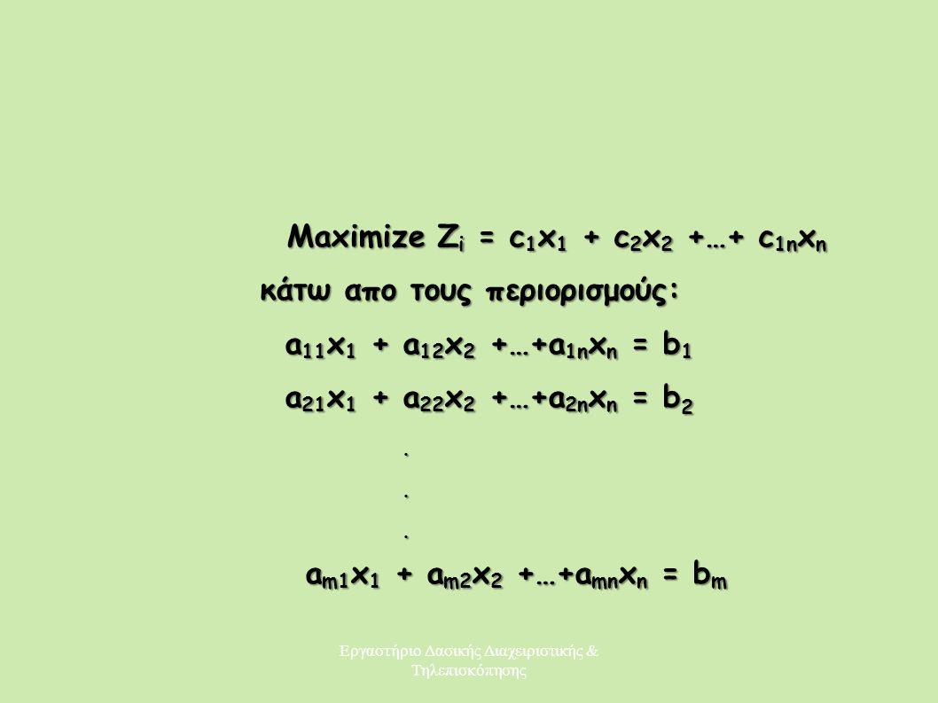 Εργαστήριο Δασικής Διαχειριστικής & Τηλεπισκόπησης Maximize Z i = c 1 x 1 + c 2 x 2 +…+ c 1n x n Maximize Z i = c 1 x 1 + c 2 x 2 +…+ c 1n x n κάτω απ