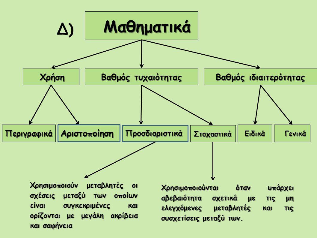 Μαθηματικά Μαθηματικά Δ) Χρήση Χρήση Βαθμός τυχαιότητας Βαθμός ιδιαιτερότητας Περιγραφικά Στοχαστικά Ειδικά Γενικά Γενικά Χρησιμοποιούν μεταβλητές οι