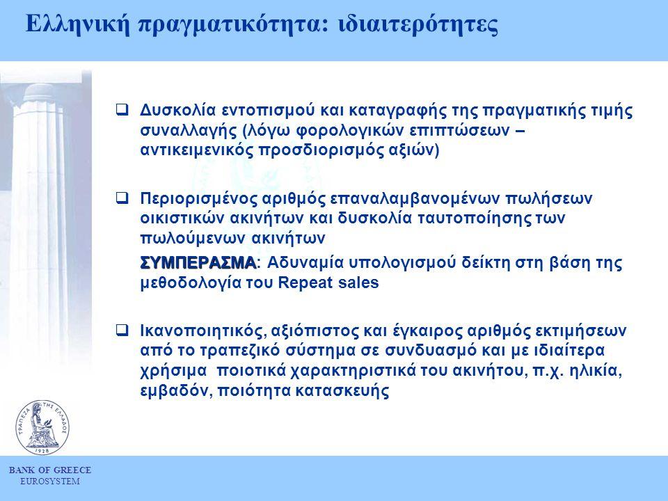 BANK OF GREECE EUROSYSTEM Ελληνική πραγματικότητα: ιδιαιτερότητες  Δυσκολία εντοπισμού και καταγραφής της πραγματικής τιμής συναλλαγής (λόγω φορολογικών επιπτώσεων – αντικειμενικός προσδιορισμός αξιών)  Περιορισμένος αριθμός επαναλαμβανομένων πωλήσεων οικιστικών ακινήτων και δυσκολία ταυτοποίησης των πωλούμενων ακινήτων ΣΥΜΠΕΡΑΣΜΑ ΣΥΜΠΕΡΑΣΜΑ: Αδυναμία υπολογισμού δείκτη στη βάση της μεθοδολογία του Repeat sales  Ικανοποιητικός, αξιόπιστος και έγκαιρος αριθμός εκτιμήσεων από το τραπεζικό σύστημα σε συνδυασμό και με ιδιαίτερα χρήσιμα ποιοτικά χαρακτηριστικά του ακινήτου, π.χ.