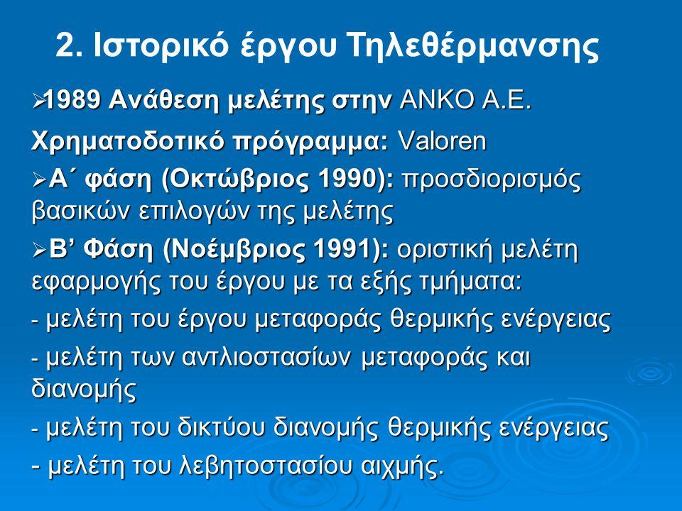  1989 Ανάθεση μελέτης στην ΑΝΚΟ Α.Ε. Χρηματοδοτικό πρόγραμμα: Valoren  Α΄ φάση (Οκτώβριος 1990): προσδιορισμός βασικών επιλογών της μελέτης  B' Φάσ