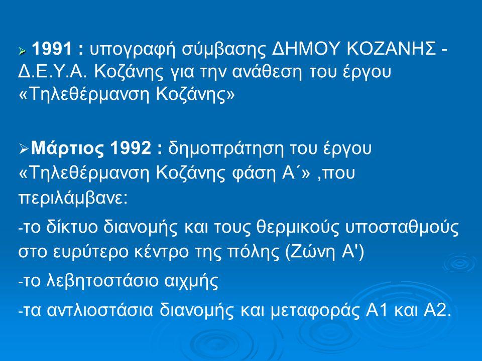   1991 : υπογραφή σύμβασης ΔΗΜΟΥ ΚΟΖΑΝΗΣ - Δ.Ε.Υ.Α. Κοζάνης για την ανάθεση του έργου «Τηλεθέρμανση Κοζάνης»   Μάρτιος 1992 : δημοπράτηση του έργο