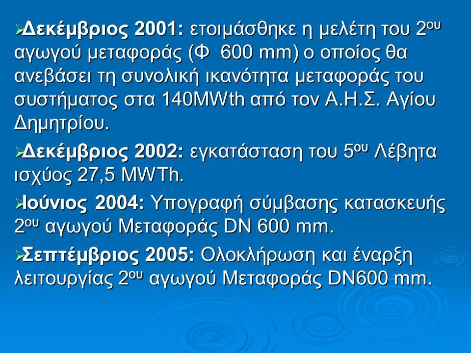  Δεκέμβριος 2001: ετοιμάσθηκε η μελέτη του 2 ου αγωγού μεταφοράς (Φ 600 mm) ο οποίος θα ανεβάσει τη συνολική ικανότητα μεταφοράς του συστήματος στα 1