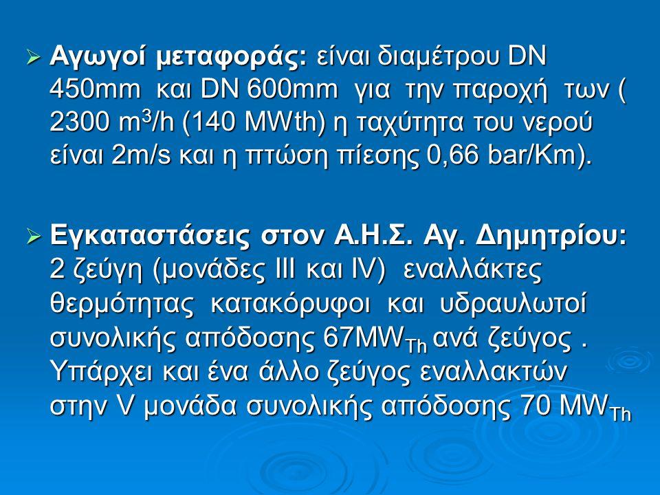  Αγωγοί μεταφοράς: είναι διαμέτρου DN 450mm και DN 600mm για την παροχή των ( 2300 m 3 /h (140 MWth) η ταχύτητα του νερού είναι 2m/s και η πτώση πίεσ