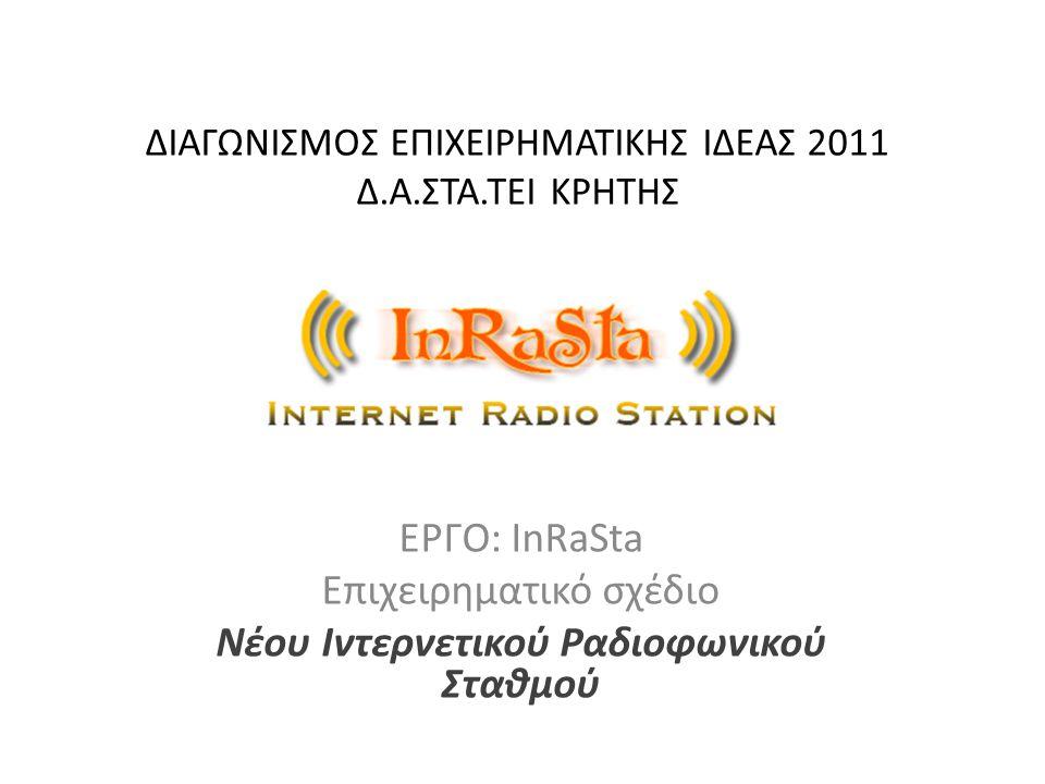 ΔΙΑΓΩΝΙΣΜΟΣ ΕΠΙΧΕΙΡΗΜΑΤΙΚΗΣ ΙΔΕΑΣ 2011 Δ.Α.ΣΤΑ.ΤΕΙ ΚΡΗΤΗΣ ΕΡΓΟ: InRaSta Επιχειρηματικό σχέδιο Νέου Ιντερνετικού Ραδιοφωνικού Σταθμού