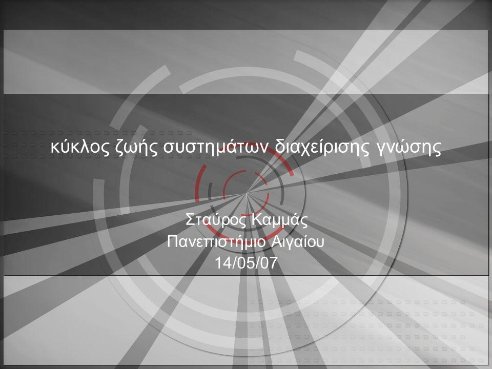 2 στόχοι •Προκλήσεις στην κατασκευή συστημάτων διαχείρισης γνώσης •Σύγκριση κύκλου ζωής συστημάτων διαχείρισης γνώσης με τον κύκλος ζωής πληροφοριακών συστημάτων •Χαρακτηριστικά χρηστών έναντι ειδικών •8 βήματα του κύκλου ζωής συστημάτων διαχείρισης γνώσης