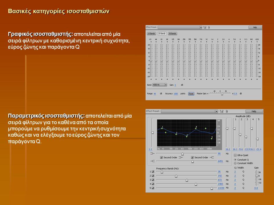 Γραφικός ισοσταθμιστής: Γραφικός ισοσταθμιστής: αποτελείται από μία σειρά φίλτρων με καθορισμένη κεντρική συχνότητα, εύρος ζώνης και παράγοντα Q Παραμ