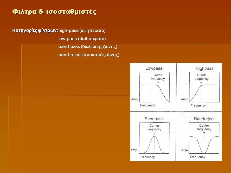 Φιλτρα & ισοσταθμιστές Κατηγορίες φίλτρων: High-pass: επιτρέπει τη διέλευση υψηλών συχνοτήτων Low-pass: επιτρέπει τη διέλευση χαμηλών συχνοτήτων Band-pass: επιτρέπει τη διέλευση συχνοτήτων εντός μίας προκαθορισμένης ζώνης, απορρίπτοντας τις συχνότητες που βρίσκονται έξω από αυτή.