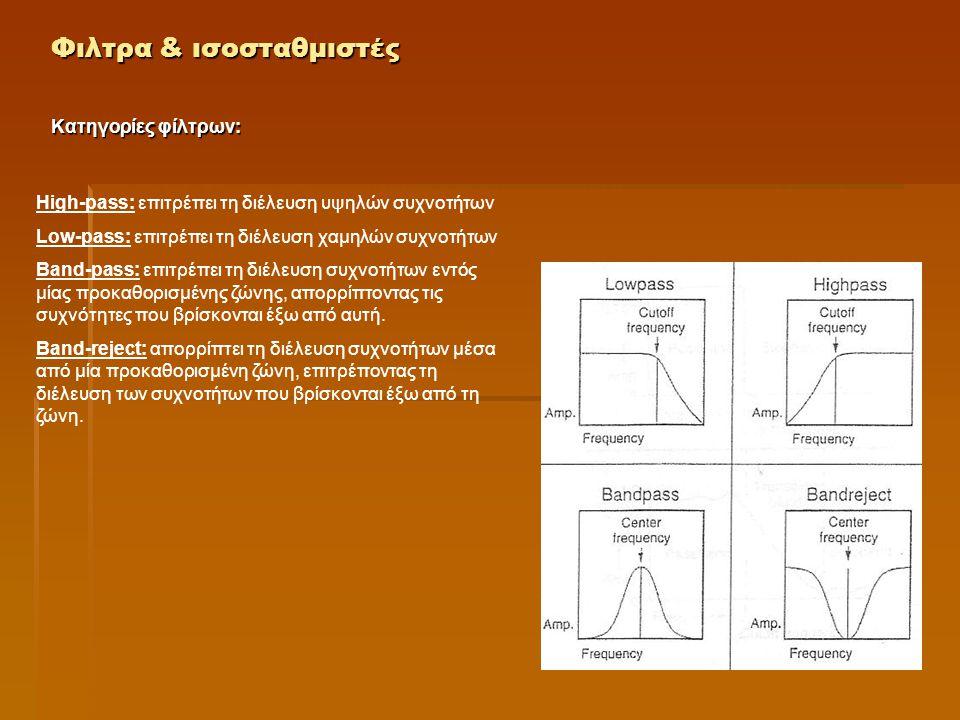 Φιλτρα & ισοσταθμιστές Κατηγορίες φίλτρων: High-pass: επιτρέπει τη διέλευση υψηλών συχνοτήτων Low-pass: επιτρέπει τη διέλευση χαμηλών συχνοτήτων Band-
