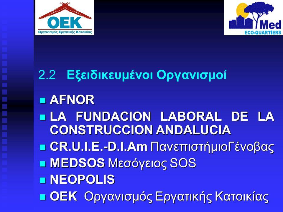 2.2 Εξειδικευμένοι Οργανισμοί  AFNOR  LA FUNDACION LABORAL DE LA CONSTRUCCION ANDALUCIA  CR.U.I.E.-D.I.Am ΠανεπιστήμιοΓένοβας  MEDSOS Μεσόγειος SO