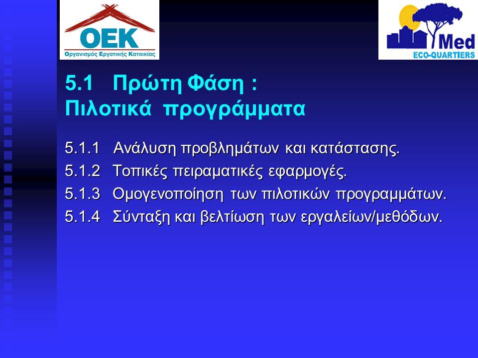 5.1 Πρώτη Φάση : Πιλοτικά προγράμματα 5.1.1 Ανάλυση προβλημάτων και κατάστασης. 5.1.2 Τοπικές πειραματικές εφαρμογές. 5.1.3 Ομογενοποίηση των πιλοτικώ