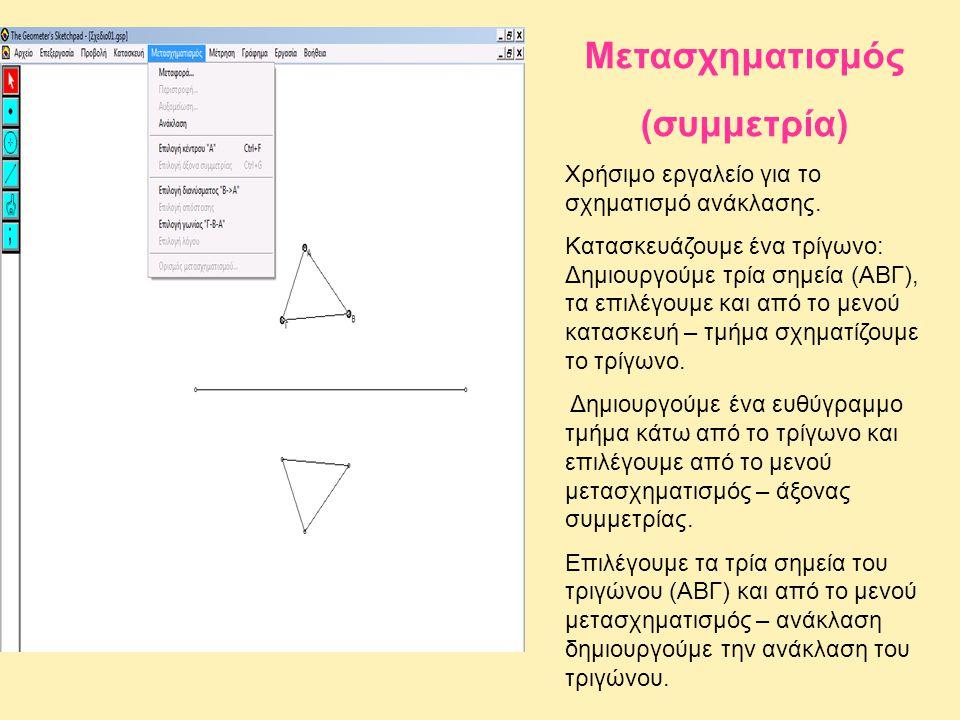 Μετασχηματισμός (συμμετρία) Χρήσιμο εργαλείο για το σχηματισμό ανάκλασης. Κατασκευάζουμε ένα τρίγωνο: Δημιουργούμε τρία σημεία (ΑΒΓ), τα επιλέγουμε κα