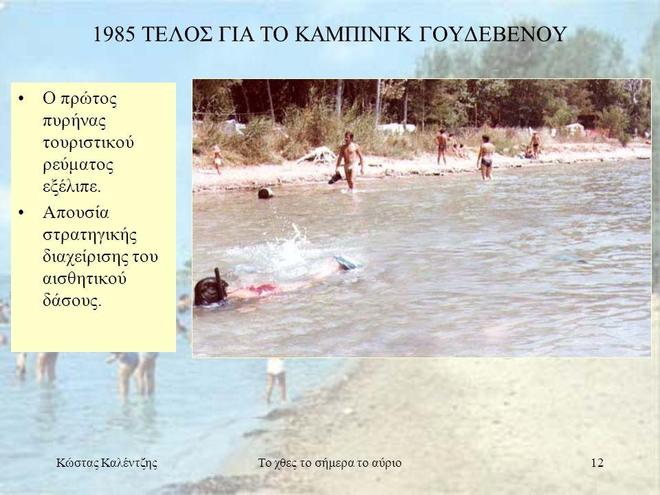 Κώστας ΚαλέντζηςΤο χθες το σήμερα το αύριο12 1985 ΤΕΛΟΣ ΓΙΑ ΤΟ ΚΑΜΠΙΝΓΚ ΓΟΥΔΕΒΕΝΟΥ •Ο πρώτος πυρήνας τουριστικού ρεύματος εξέλιπε. •Απουσία στρατηγική
