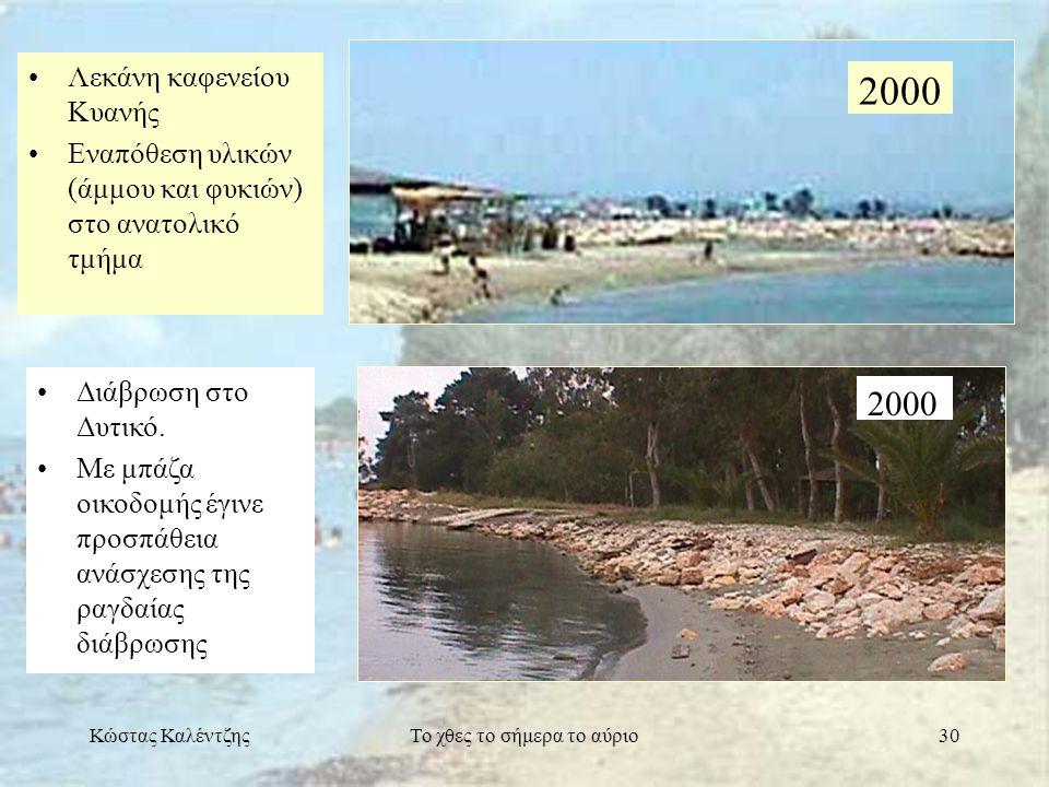 Κώστας ΚαλέντζηςΤο χθες το σήμερα το αύριο30 •Λεκάνη καφενείου Κυανής •Εναπόθεση υλικών (άμμου και φυκιών) στο ανατολικό τμήμα 2000 •Διάβρωση στο Δυτι