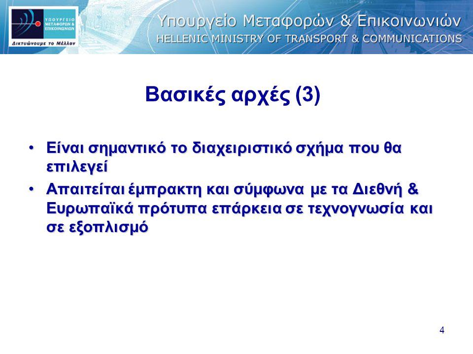 4 Βασικές αρχές (3) •Είναι σημαντικό το διαχειριστικό σχήμα που θα επιλεγεί •Απαιτείται έμπρακτη και σύμφωνα με τα Διεθνή & Ευρωπαϊκά πρότυπα επάρκεια