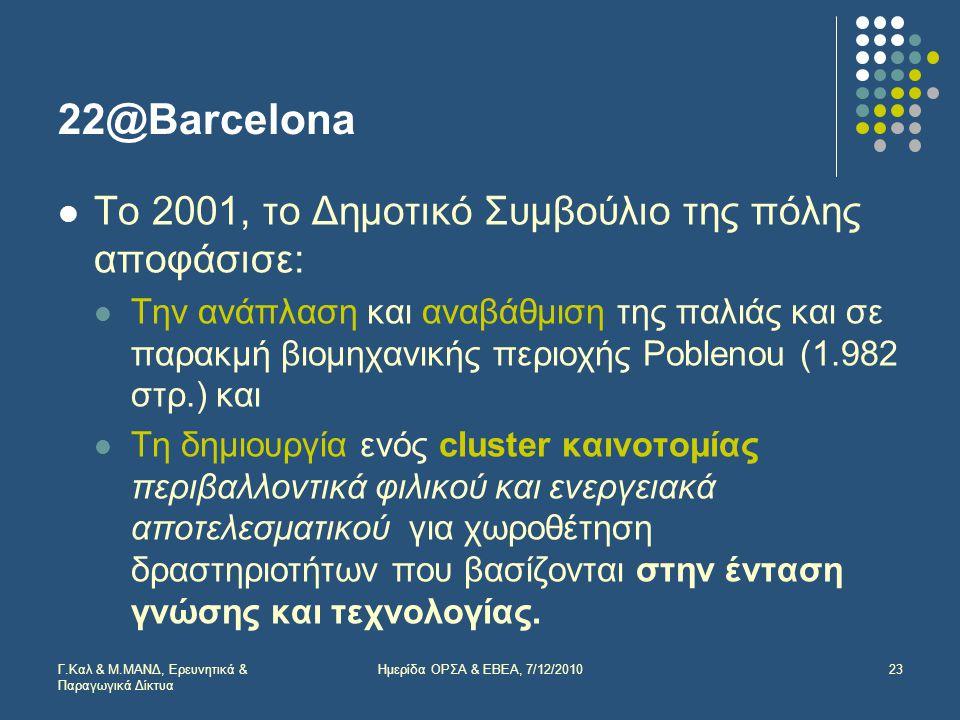 22@Barcelona  Το 2001, το Δημοτικό Συμβούλιο της πόλης αποφάσισε:  Την ανάπλαση και αναβάθμιση της παλιάς και σε παρακμή βιομηχανικής περιοχής Poblenou (1.982 στρ.) και  Τη δημιουργία ενός cluster καινοτομίας περιβαλλοντικά φιλικού και ενεργειακά αποτελεσματικού για χωροθέτηση δραστηριοτήτων που βασίζονται στην ένταση γνώσης και τεχνολογίας.