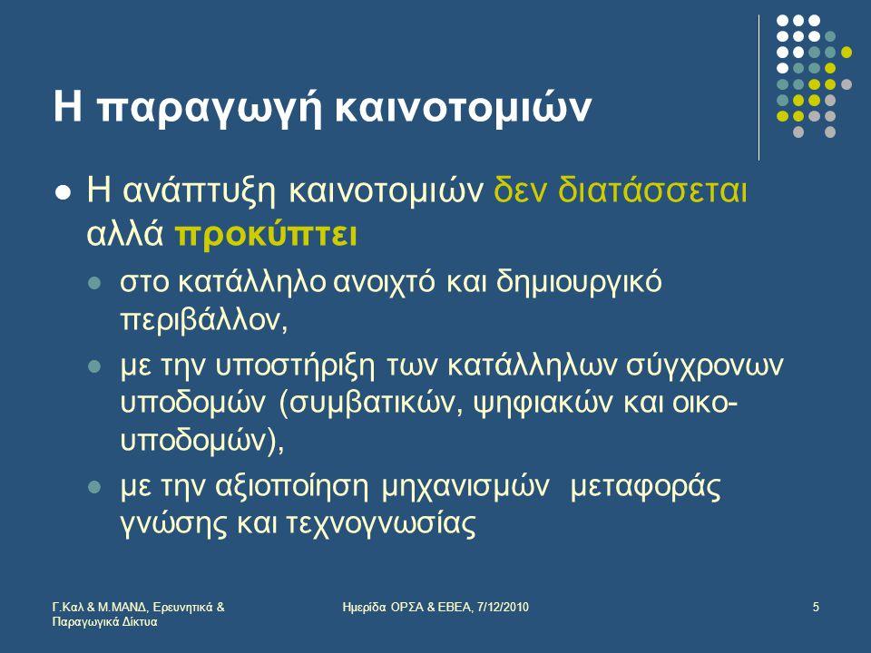 Οι σημαντικότεροι κλάδοι, Κύκλος εργασιών 2007 ΣΤΑΚΟΔ 03% στην Ελλάδα 23Παραγωγή κωκ, προϊόντων διύλισης πετρελαίου99,9% 24Κατασκευή χημικών προϊόντων93,0% 15Βιομηχανία τροφίμων και ποτών47,4% 27Παραγωγή βασικών μετάλλων86,7% 22 Εκδόσεις, εκτυπώσεις και αναπαραγωγή προεγγεγραμμένων μέσων εγγραφής και πληροφορικής 85,8% 28 Κατασκευή μεταλλικών προϊόντων (εκτός των μηχανημάτων και ειδών εξοπλισμού) 55,5% 26Κατασκευή λοιπών προϊόντων από μη μεταλλικά ορυκτά60,4% 31Κατασκευή ηλεκτρικών μηχανών και συσκευών μ.α.κ.88,2% 29Κατασκευή μηχανημάτων και ειδών εξοπλισμού μ.α.κ.62,2% 36Λοιπές βιομηχανίες μ.α.κ.57,8% Σύνολο76,0% Γ.Καλ & Μ.ΜΑΝΔ, Ερευνητικά & Παραγωγικά Δίκτυα 16Ημερίδα ΟΡΣΑ & ΕΒΕΑ, 7/12/2010