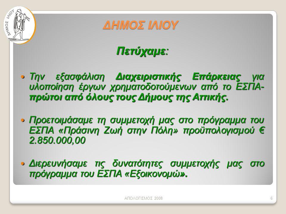 ΔΗΜΟΣ ΙΛΙΟΥ Πετύχαμε:  Την εξασφάλιση Διαχειριστικής Επάρκειας για υλοποίηση έργων χρηματοδοτούμενων από το ΕΣΠΑ- πρώτοι από όλους τους Δήμους της Αττικής.