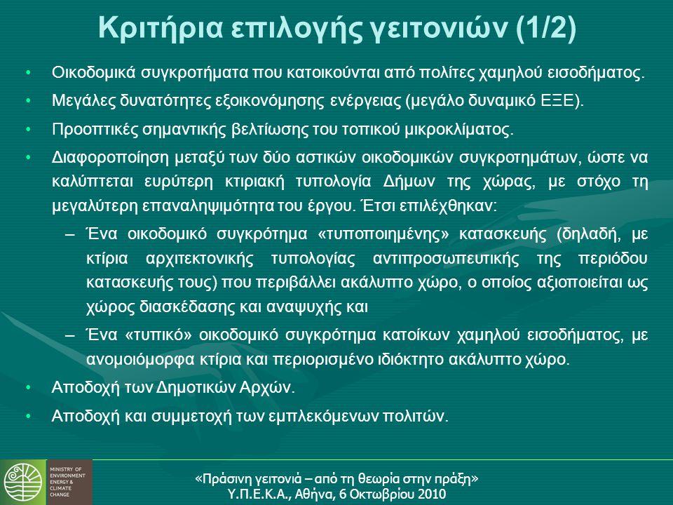 «Πράσινη γειτονιά – από τη θεωρία στην πράξη» Υ.Π.Ε.Κ.Α., Αθήνα, 6 Οκτωβρίου 2010 Κριτήρια επιλογής γειτονιών (1/2) •Οικοδομικά συγκροτήματα που κατοικούνται από πολίτες χαμηλού εισοδήματος.