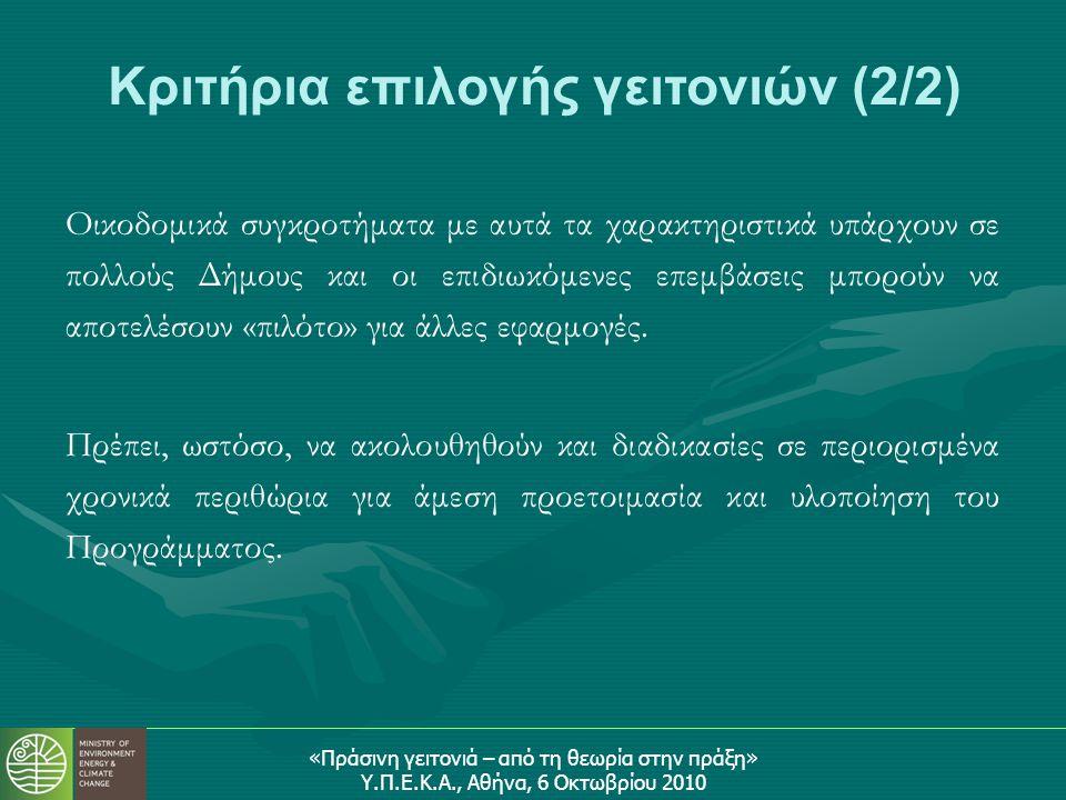 «Πράσινη γειτονιά – από τη θεωρία στην πράξη» Υ.Π.Ε.Κ.Α., Αθήνα, 6 Οκτωβρίου 2010 Οικοδομικά συγκροτήματα με αυτά τα χαρακτηριστικά υπάρχουν σε πολλούς Δήμους και οι επιδιωκόμενες επεμβάσεις μπορούν να αποτελέσουν «πιλότο» για άλλες εφαρμογές.