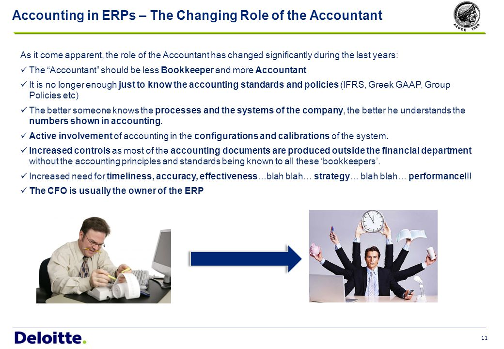 11 Accounting in ERPs – The Changing Role of the Accountant As it come apparent, the role of the Accountant has changed significantly during the last