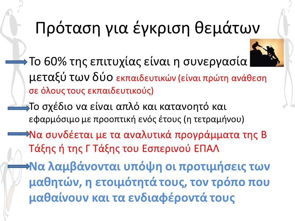 Πρόταση για έγκριση θεμάτων • Το 60% της επιτυχίας είναι η συνεργασία μεταξύ των δύο εκπαιδευτικών (είναι πρώτη ανάθεση σε όλους τους εκπαιδευτικούς)