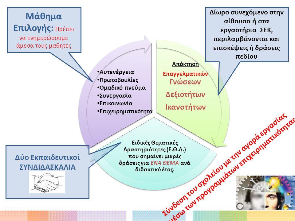 Απόκτηση Επαγγελματικών Γνώσεων Δεξιοτήτων Ικανοτήτων Ειδικές Θεματικές Δραστηριότητες (Ε.Θ.Δ.) που σημαίνει μικρές δράσεις για ΕΝΑ ΘΕΜΑ ανά διδακτικό