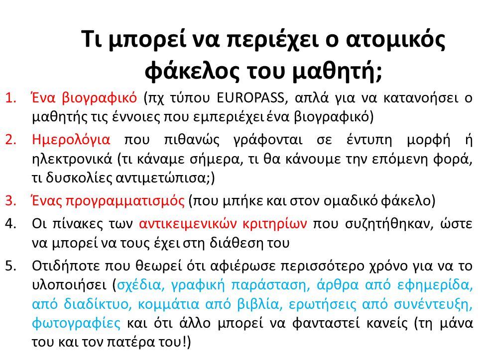 Τι μπορεί να περιέχει ο ατομικός φάκελος του μαθητή; 1.Ένα βιογραφικό (πχ τύπου EUROPASS, απλά για να κατανοήσει ο μαθητής τις έννοιες που εμπεριέχει