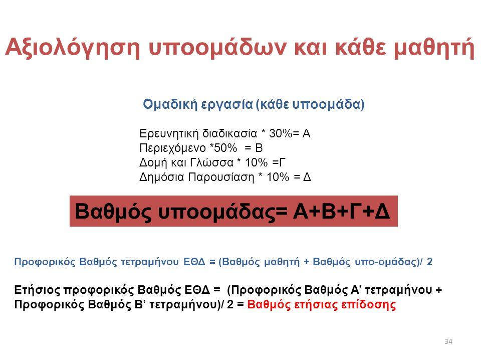 34 Ερευνητική διαδικασία * 30%= Α Περιεχόμενο *50% = Β Δομή και Γλώσσα * 10% =Γ Δημόσια Παρουσίαση * 10% = Δ Βαθμός υποομάδας= Α+Β+Γ+Δ Αξιολόγηση υποο
