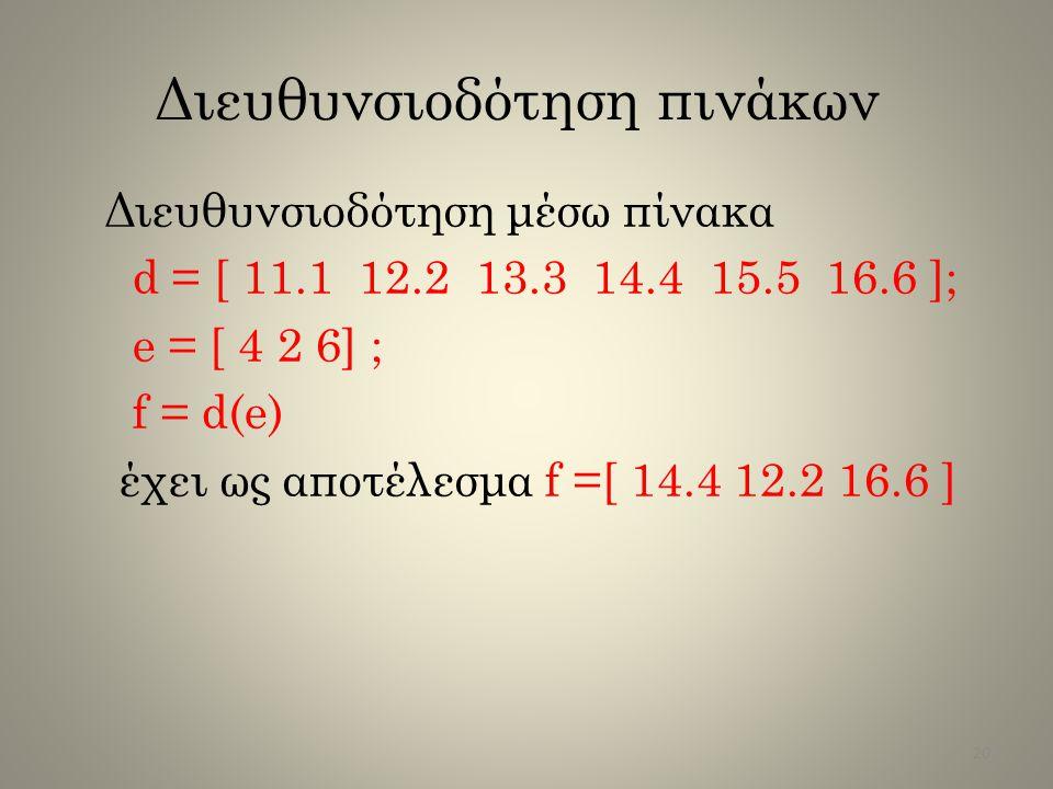 Διευθυνσιοδότηση πινάκων Διευθυνσιοδότηση μέσω πίνακα d = [ 11.1 12.2 13.3 14.4 15.5 16.6 ]; e = [ 4 2 6] ; f = d(e) έχει ως αποτέλεσμα f =[ 14.4 12.2