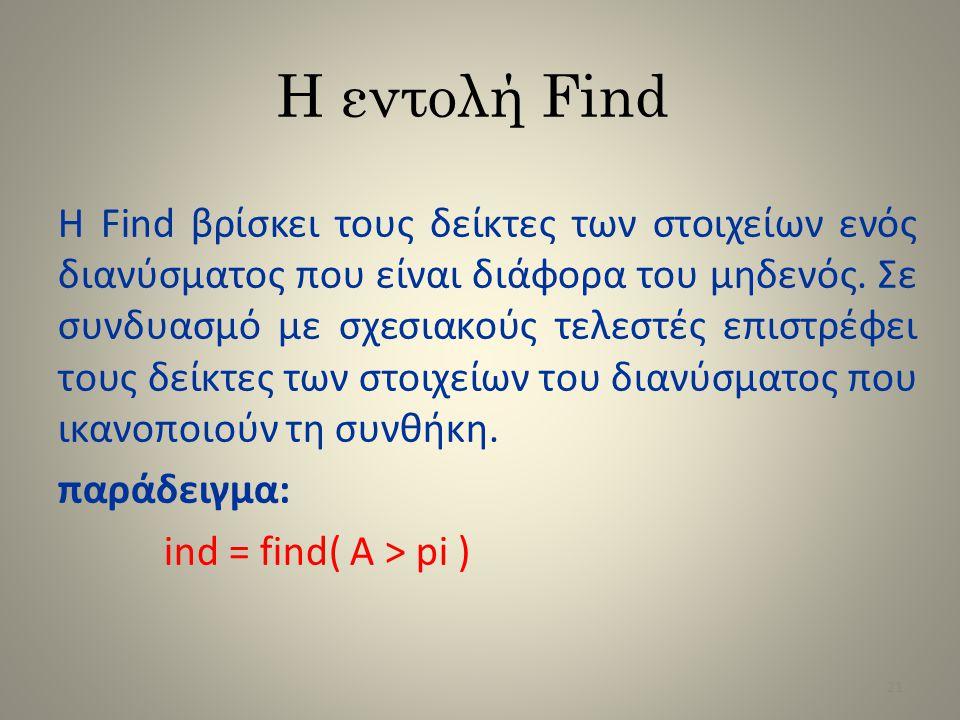 Η εντολή Find Η Find βρίσκει τους δείκτες των στοιχείων ενός διανύσματος που είναι διάφορα του μηδενός. Σε συνδυασμό με σχεσιακούς τελεστές επιστρέφει