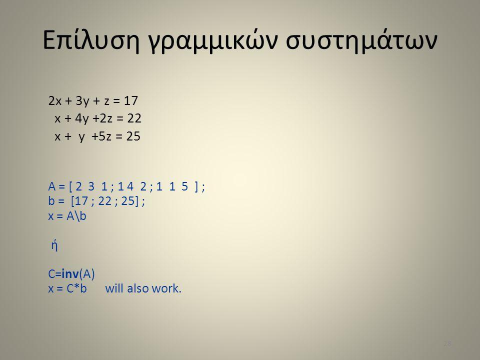 Επίλυση γραμμικών συστημάτων 2x + 3y + z = 17 x + 4y +2z = 22 x + y +5z = 25 A = [ 2 3 1 ; 1 4 2 ; 1 1 5 ] ; b = [17 ; 22 ; 25] ; x = A\b ή C=inv(A) x