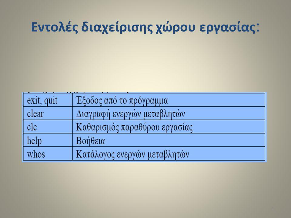 Εντολές διαχείρισης χώρου εργασίας : 4