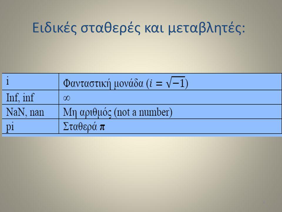 Δ ΙΑΧΕΙΡΙΣΗ ΠΙΝΑΚΩΝ Συνένωση πινάκων με το σύμβολο [ ] Επιλογή υπο-πίνακα με το σύμβολο ( ) y = x(2) y =0 y = x(2:4)y = 011 1y = x(2:4)y = 011 1 a=[1 2]; b=[3 4]; c=[5;6];c=[5;6]; d=[a;b]; e=[d c]; x =0 y=x(2) 01111 y=x(2:4) x=[zeros(1,2)ones(1,4)]ones(1,4)] x = 001111x = 001111 f=[[e e]; [a b a]]; Indexing a=[1 2 3]; a(1) a(2) a(3) 17
