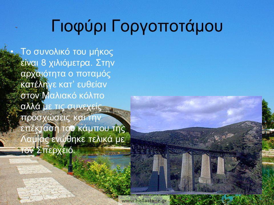 Γιοφύρι Γοργοποτάμου •Το συνολικό του μήκος είναι 8 χιλιόμετρα. Στην αρχαιότητα ο ποταμός κατέληγε κατ' ευθείαν στον Μαλιακό κόλπο αλλά με τις συνεχεί