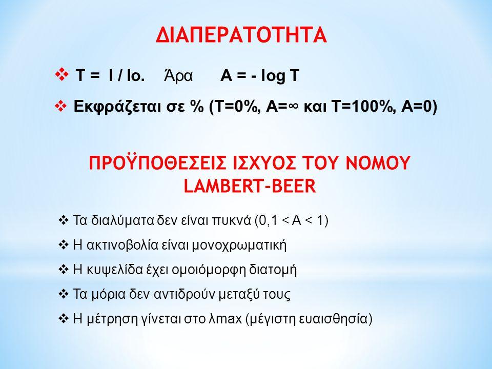 ΔΙΑΠΕΡΑΤΟΤΗΤΑ  T = I / Io. Άρα Α = - log T  Εκφράζεται σε % (Τ=0%, Α=∞ και Τ=100%, Α=0) ΠΡΟΫΠΟΘΕΣΕΙΣ ΙΣΧΥΟΣ ΤΟΥ ΝΟΜΟΥ LAMBERT-BEER  Τα διαλύματα δε