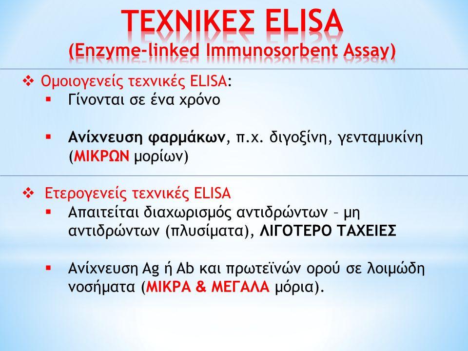  Ομοιογενείς τεχνικές ELISA:  Γίνονται σε ένα χρόνο  Ανίχνευση φαρμάκων, π.χ. διγοξίνη, γενταμυκίνη (ΜΙΚΡΩΝ μορίων)  Ετερογενείς τεχνικές ELISΑ 