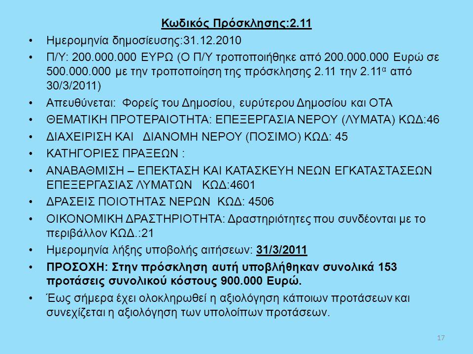 Κωδικός Πρόσκλησης:2.11 •Ημερομηνία δημοσίευσης:31.12.2010 •Π/Υ: 200.000.000 ΕΥΡΩ (Ο Π/Υ τροποποιήθηκε από 200.000.000 Ευρώ σε 500.000.000 με την τροπ