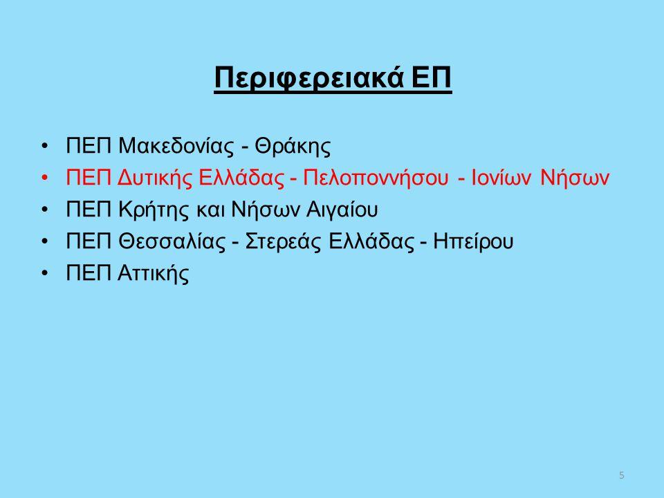 Περιφερειακά ΕΠ •ΠΕΠ Μακεδονίας - Θράκης •ΠΕΠ Δυτικής Ελλάδας - Πελοποννήσου - Ιονίων Νήσων •ΠΕΠ Κρήτης και Νήσων Αιγαίου •ΠΕΠ Θεσσαλίας - Στερεάς Ελλ