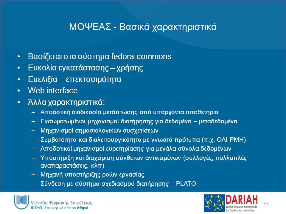 ΜΟΨΕΑΣ - Βασικά χαρακτηριστικά 14 •Βασίζεται στο σύστημα fedora-commons •Ευκολία εγκατάστασης – χρήσης •Ευελιξία – επεκτασιμότητα •Web interface •Άλλα